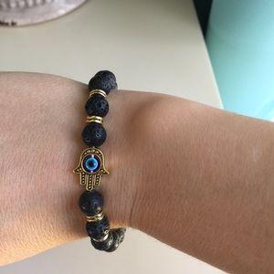 Natural stone Hamsa Hand Luck Evil Eye Bracelet
